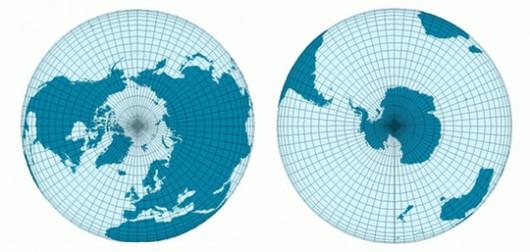 Hemisferios Norte y Sur vistos desde sus correspondientes polos.